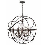 Solaris Large Chandelier with Clear Crystals - English Bronze / Spectra Crystal