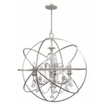 Solaris Large Chandelier with Clear Crystals - Olde Silver / Crystal