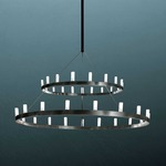 Chandelier 2 Tier Suspension - Black / White Glass