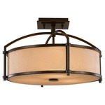 Preston Semi Flush Ceiling Light - Heritage Bronze / Bark Texture with Amber Etch