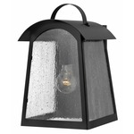 Putney Bridge Outdoor Wall Sconce - Black / Seedy Water Glass