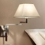Carlota Wall Lamp - Nickel/ Dark Leather / Cotton