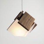 Mica Accent LED Pendant - Brushed Aluminum / Oiled Walnut
