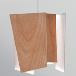 Levis L LED Pendant - Brushed Aluminum / Beech Wood