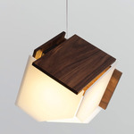 Mica L Pendant - Brushed Aluminum / Dark Stained Walnut