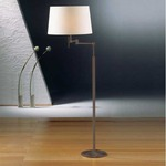 2541 Fabric Shade Swing Arm Floor Lamp - Satin Nickel / Satin White