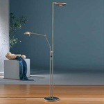 2501 Raumfluter Side Arm Reading Floor Lamp - Satin Nickel /