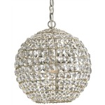 Roundabout Pendant - Silver Leaf / Crystal