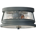 Chelsea Harbor Outdoor Flush Mount - Storm Cloud / Clear Seeded