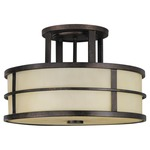 Fusion Semi Flush Ceiling Light - Grecian Bronze / Amber Ribbed