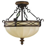 Drawing Room Chain Link Semi Flush Ceiling Light - Walnut / Amber Snow Scavo