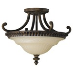 Drawing Room Semi Fixed Arm Flush Mount - Walnut / Amber Snow Scavo