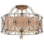 Marcella Semi Flush Ceiling Light - British Bronze and Oxidized Bronze / Beige