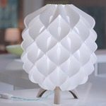 Blom Table Lamp - Light Wood/ Teal Cord / White