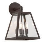 Amherst Outdoor Coastal Wall Sconce - River Valley Rust / Clear