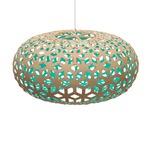 Snowflake Pendant - Bamboo / Natural / Aqua