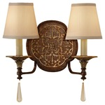 Marcella 2 Light Wall Sconce - British Bronze and Oxidized Bronze / Beige