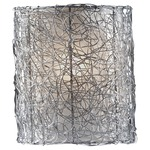 Wired Wall Sconce - Brushed Steel / Silver Organza