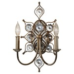 Leila 2 Light Wall Sconce - Burnished Silver / Crystal