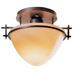 Moonband Small Semi Flush Ceiling Light - Burnished Steel / Stone