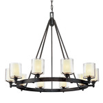 Arcadia Chandelier - French Iron / Clear