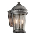 Ambassador Outdoor Wall Sconce - Aged Pewter / Clear Seeded