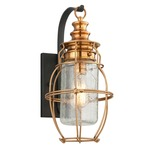 Little Harbor Outdoor Wall Sconce - Aged Brass / Clear Antique