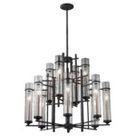 Ethan Multi Tier Chandelier - Antique Forged Iron / Clear