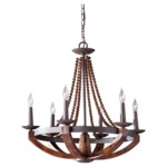 Adan F2749 Chandelier - Rustic Iron Burnished Wood / Beige