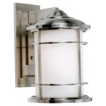 Lighthouse Outdoor Wall Light - Brushed Steel / Opal