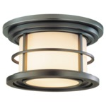 Lighthouse Outdoor Ceiling Light Fixture - Burnished Bronze / Opal