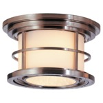 Lighthouse Outdoor Ceiling Light Fixture - Brushed Steel / Opal