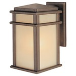 Mission Lodge Outdoor Wall Light - Corinthian Bronze/ Amber Ribbed /