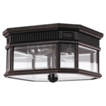 Cotswold Lane Outdoor Ceiling Light Fixture - Grecian Bronze / Clear Beveled