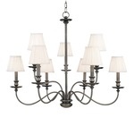 Menlo Park Chandelier - Antique Nickel / Off White