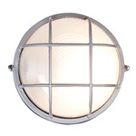Nauticus Round Outdoor Bulkhead Wall / Ceiling Light - Satin / Frosted