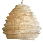 Bamboo Cloud Tall Chandelier -  / Whitewash