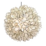 Lotus Flower Chandelier - Nickel / White