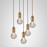 Crystal Bulb Chandelier - Brass / Clear