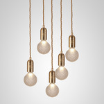 Crystal Bulb Chandelier - Brass / Frosted