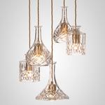 Decanterlight Chandelier - Brushed Brass / Crystal