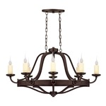 Elba Oval Chandelier - Oiled Copper / Ivory