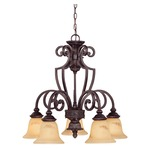 Knight Down Chandelier - Antique Copper / Cream
