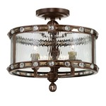 Paragon Semi Flush Mount - Guilded Bronze / Clear Watered