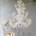 Three Tier 1377 Chandelier - Chrome / Milk White Crystal