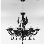 1377 One Tier Chandelier - Chrome / Black / Crystal