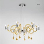 One Tier 2001 Chandelier - Chrome / Submerged Amber