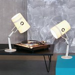 Fork Adjustable Table Lamp with Dimmer - Ivory / Ivory
