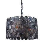 Cirque Pendant - Matte Black / Grey Tiffany Glass