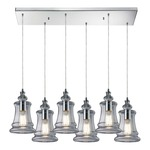 Menlow Park 60052-6RC 6-Light Linear Pendant - Polished Chrome / Clear